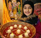 Muslim girl celebrating diwali